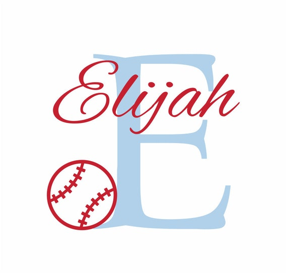 """Baseball Wall Decal Initial and Name Vinyl Wall Decal Sports Decal for Boy Baby Nursery or Boys Room 22""""H x 29""""W Wall Art FS0198"""