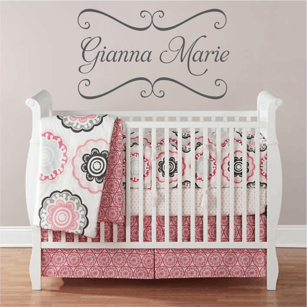 Name Wall Decals For Nursery Tags: Vinyl Wall Decals Nursery Name Wall Decal Baby By Wallartsy