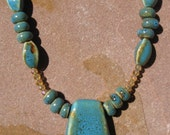 Ceramic Bead and Crystal Necklace