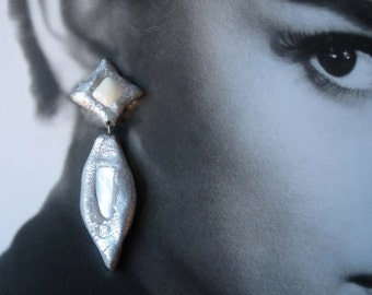 Mother of Pearl Silver Metallic Leaf Earrings, one of a kind, Handmade by Pauletta Brooks