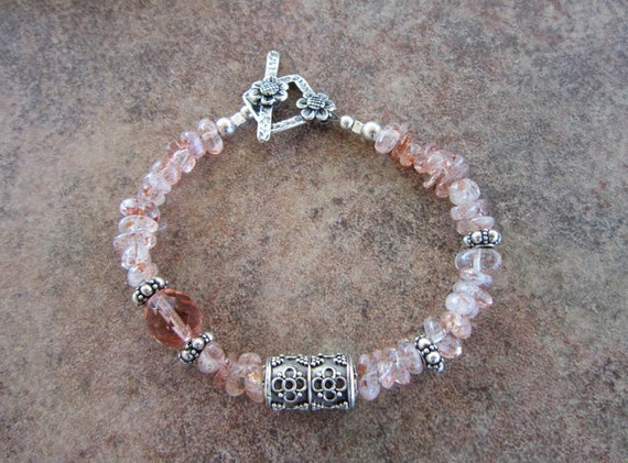 Strawberry Sunstone & Sterling Silver Bracelet