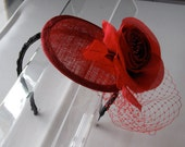 Red Silk Flower Sinamay Fascinator Hat with Veil and Black Beaded Headband, for weddings, cocktail parties, evening, special occasions