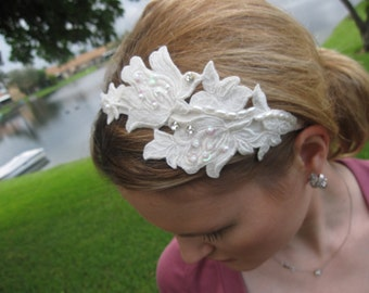 Ivory Flower with Pearls and Crystals Headband, for wedding, bridal, bridesmaid, special occasion