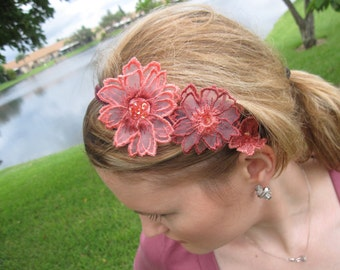 Pink and Mauve Flower Applique Headband with Burgundy Velvet Trim, for weddings, parties, events