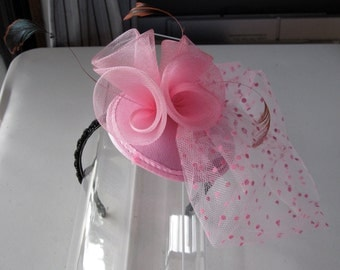 Pink Feather Sinamay Fascinator Hat with Veil and Black Beaded Band, for weddings, parties, special occasions