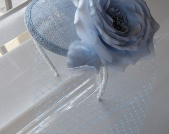 Silk Pastel Blue Flower Sinamay Fascinator Hat with Veil and Pearl Beaded Headband, for weddings, parties, special occasions