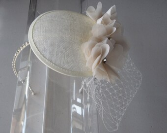 Ivory Chiffon Crystal Flower Sinamay Fascinator Hat with Veil and Crystal Headband, for weddings, bridesmaid, parties, special occasions