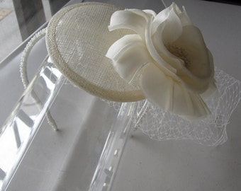 Ivory Silk Flower Sinamay Fascinator Hat with Veil and Beaded Headband, for Bridal, Weddings, parties, special occasions