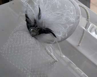 Black and White Feather Sinamay Fascinator Hat with Veil and Beaded Headband, for Bridal, weddings, parties, special occasions