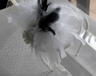 White and Black Feather Pearl Sinamay Fascinator Hat with Veil and Beaded Headband, for Bridal, weddings, parties, special occasions