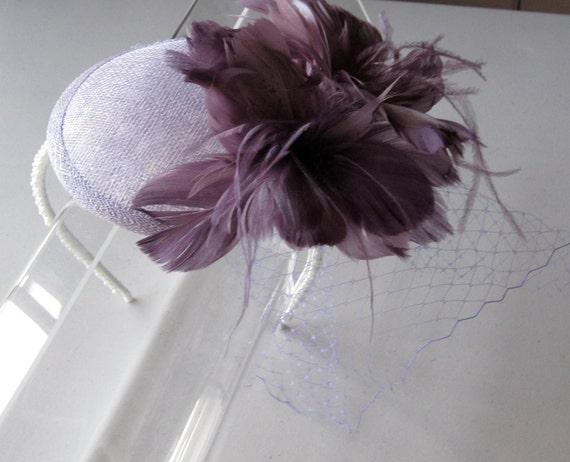 Lavender Purple Feather Flower Sinamay Fascinator Hat with Veil and Pearl Beaded Headband, for weddings, bridesmaid, parties