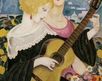 Art Deco Print by Gerda Wegener--Two Women and Guitar