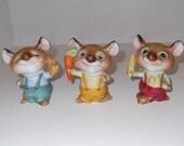 Three Little Mice Ceramic Figurines / Vintage Figurine / Mouse