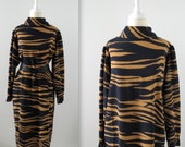 On Sale Vintage 1980s Animal Print Slouch Dress in Navy and Camel - by Designer Gerard Pasquier -  Large
