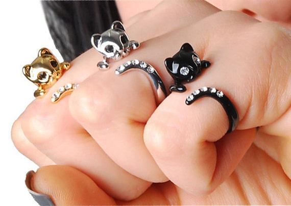 Stock Clearance - Buy 2 Get 1 Free - Beautiful Swarovski Crystal Cat Ring