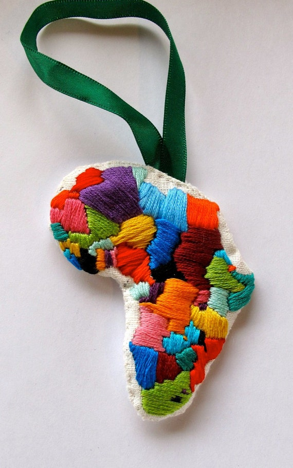 Africa Christmas ornament hand embroidered for Christmas Valentine's Day Black History Month An Astrid Endeavor MADE TO ORDER