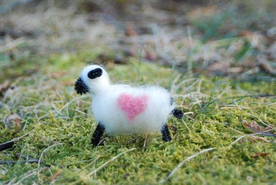 Felted Sheep, Love Ewe, Love You Lamb With Pink Heart, Valentines Day