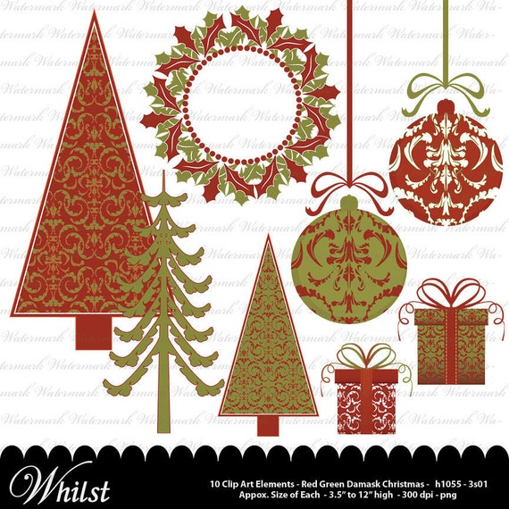 Christmas clip art, Christmas tree clipart, wreath ornament scrapbooking red green : h1055 v301  3s01