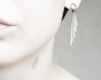 Sterling silver earrings. Delicate dangle shiny earrings. Oxidized ombre fringe.