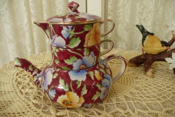Royal Winton Chintz  4 pc. Teapot/Breakfast Set- June Festival
