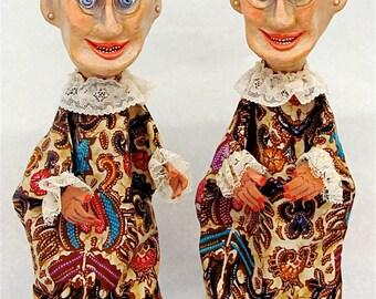 """TREASURY ITEM Hand Puppets, Handmade, Hand-Painted--""""Bessie and Sadie""""--Height:  14-1/2"""""""