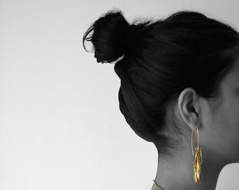 OTTO dangle leaves earrings, brass long earrings, gold narure, boho marriage, seed golden earrings, party earrings, jewelry contemporary