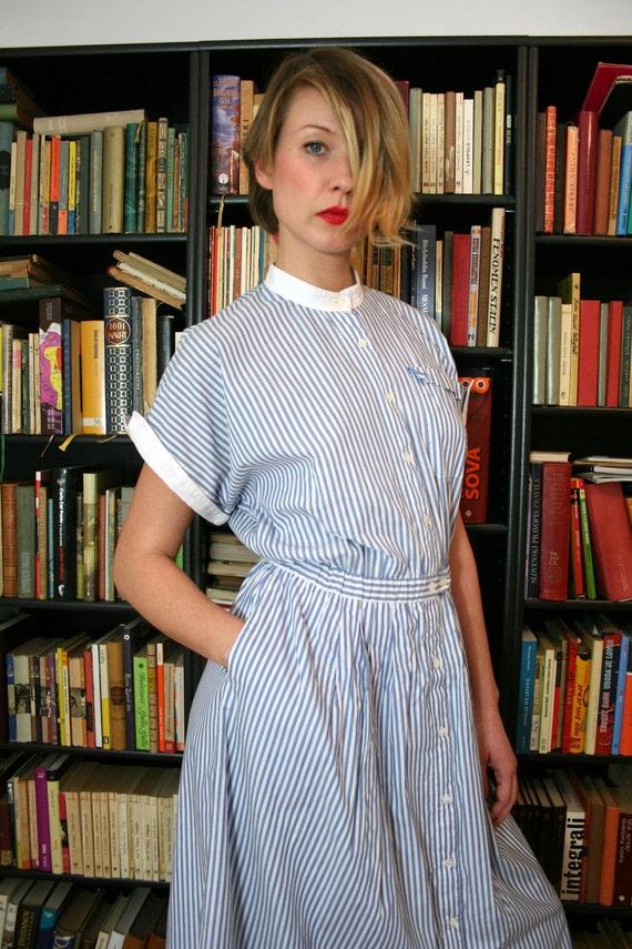 Vintage White and Blue Stripes House Dress