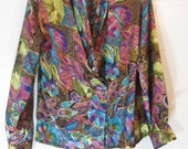 Colorful 1980's Loose fit Blouse with sexy plunging draped neckline and shoulder pads (which could be removed) by impressions of California