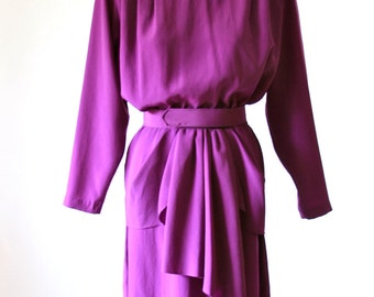 Purple Peplum Dress - Size 6 - Caron Petites