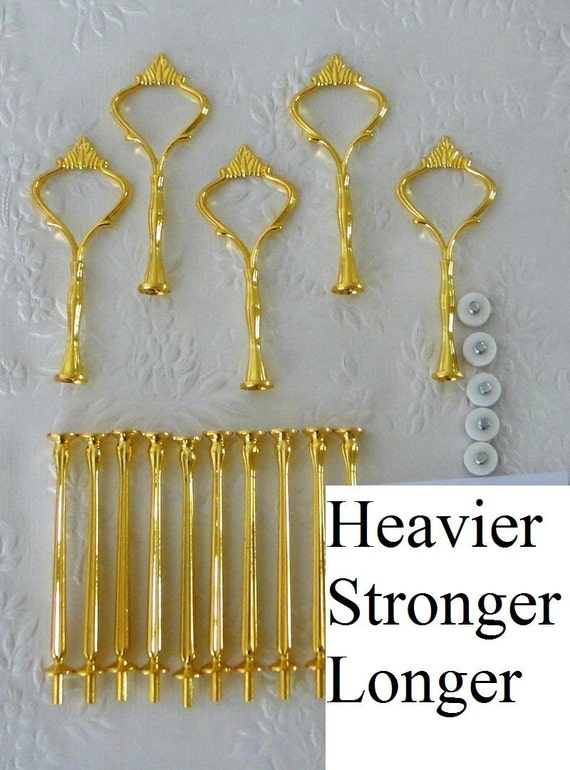 5 x 3 tier Heavy Gold Crown Cake Stand Fittings / Handle
