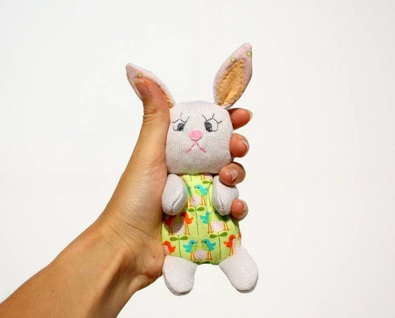 Pastel Bunny / Pocket Pal / Softie / Plush / Soft baby Toy / Rabbit / Spring / White ,green ,gray , fun for kids ,easter favor