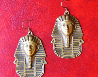 Ancient Egyptian Earrings - Kings Tutankhamun Earrings - Ramses Egypt Jewelry - Brass Pharaoh Funerary Death Mask - Mummy Mummies - King Tut