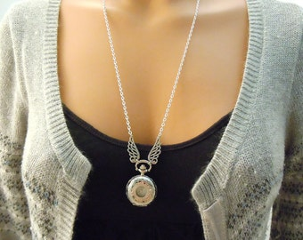 Time Does Fly -- Pocket watch wing necklace-Christmas gift wing necklace pocket watch necklace