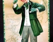 Vintage Antique Victorian Saint Patrick's Day Greeting Postcard w/ Young Irish Gentleman, 1909