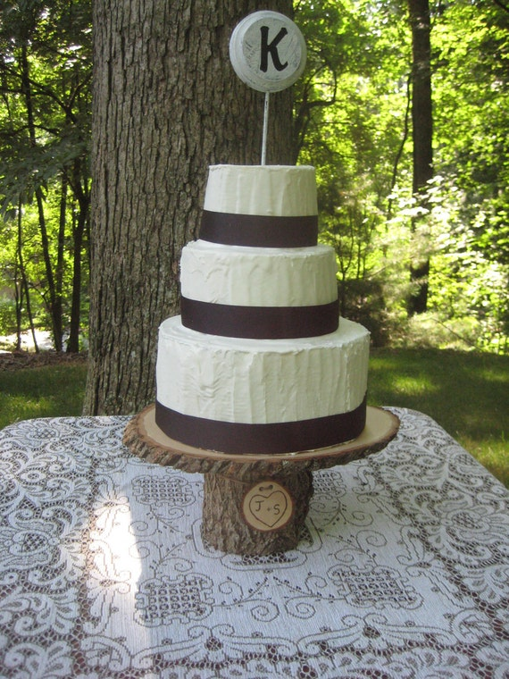 Rustic Wedding Cake Stand Personalized Wood Slices