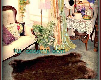 Faux Fur Brown Bear Skin Pelt Rug   plush thick faux fur  Huge Life Size and Life Like