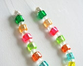 Rainbow Cube Necklace -  square bead necklace, mini square necklace, mini cube necklace, illusion necklace, rainbow jewellery, exposed wire