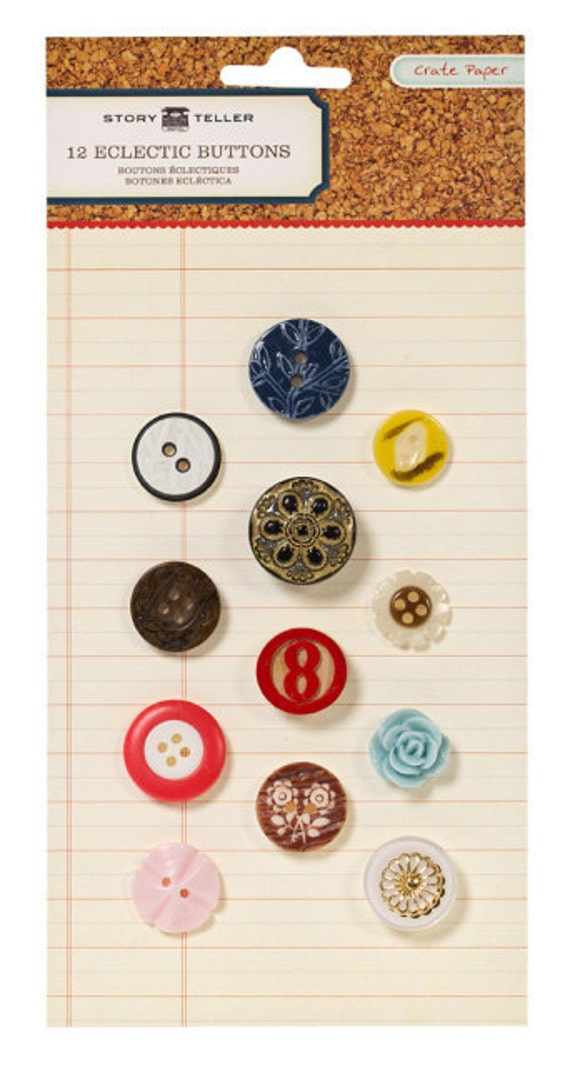 75% Off - Crate Paper Story Teller Eclectic Buttons -- MSRP 6.00