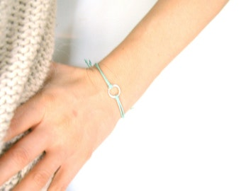Mint Green Eternity Bracelet: Adjustable Cord Bracelet, Mint String Bracelet, Friendship Bracelet UK
