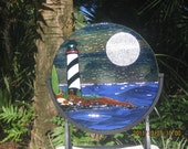 Lighthouse Art Glass Sculpture Fused Stained Glass suncatcher black & white lighhouse silver full moon