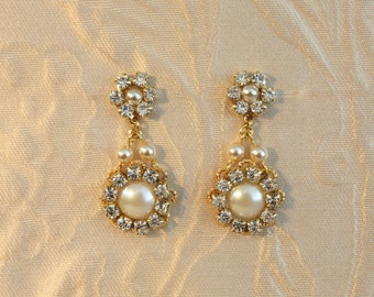 Bridal Earrings Post Golden Bride Earrings Sparkle Deluxe Rhinestone And Pearls Chandelier Wedding Gold Earrings Crystals Vintage Zirconium