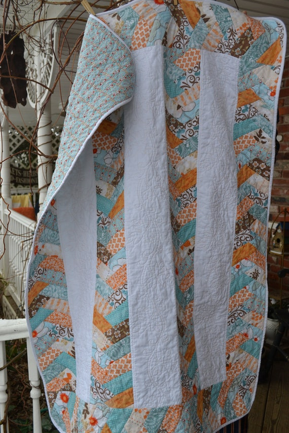 Handmade Quilt Cottage Chic Peach and Blue  Braided Patchwork Childs Throw or Lap Strip Quilt or Tablecloth