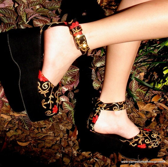 25% Off Clearance Sale- Black Embroidered Floral Platform Ankle Strap Vegan Womens Shoe