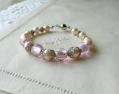 Bridesmaids Bracelet Bridal Jewelry Flower Girls Bracelet Pink Pearl Bracelet  Wedding Jewelry Beaded Bracelet