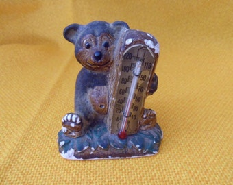Cute old Chalk ware  Baby Bear Thermometer Vintage retro