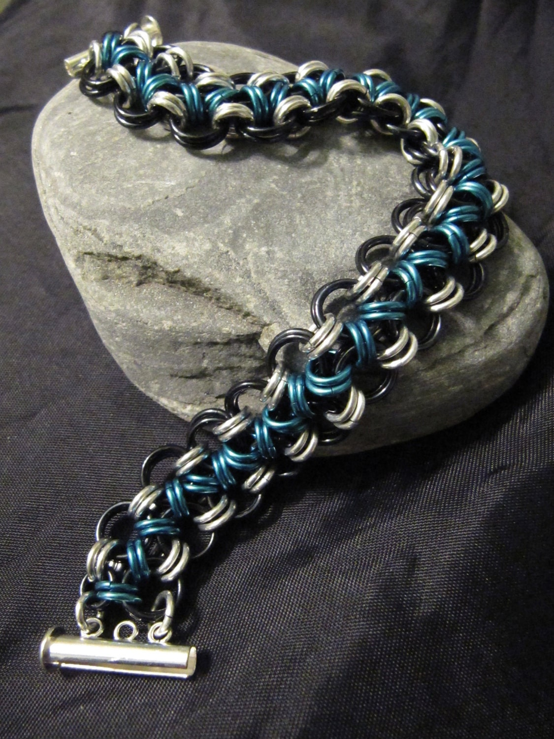 Blue Black Silver Chainmaille bracelet chain by MischiefOfMice