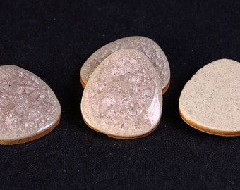 20mm silver grey gray pink crackle porcelain cabochons - flat drop cabochon - 20mm x 16mm - 4 pieces (416) - Flat rate shipping