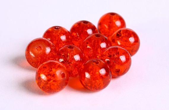 10mm dark orange round crackle glass beads - 10 pieces (228) - Flat rate shipping
