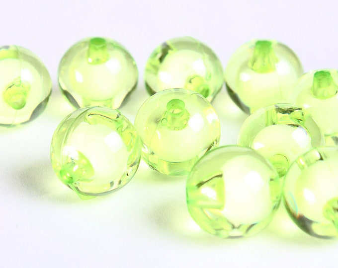 12mm Green miracle beads - bead in bead - round beads - Gumball Bead - Clear beads - Gum ball beads (455) - Flat rate shipping