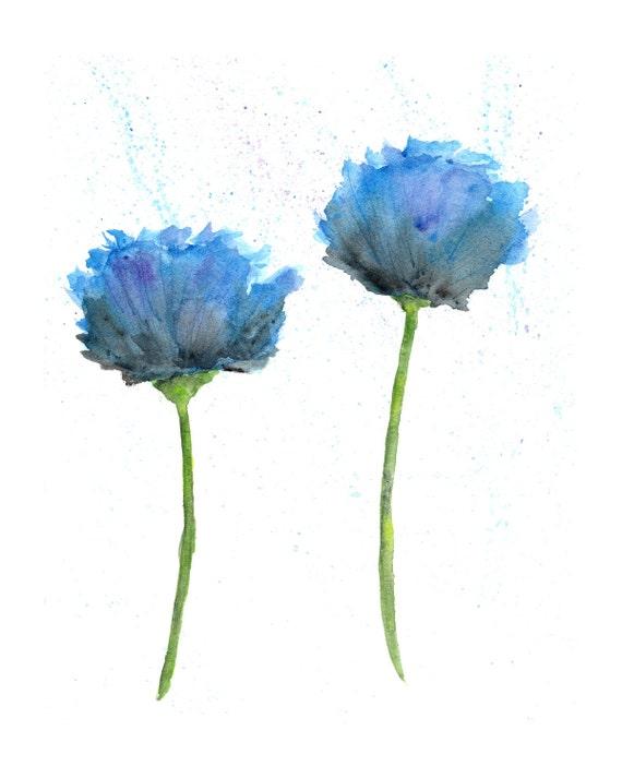 Watercolor painting, watercolor flowers, flower art, flower painting, abstract flowers, watercolor poppies,  flower print, blue, 8X10 print